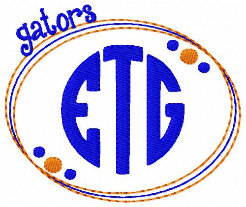 Gators 3 Letter Monogram Embroidery Design Set