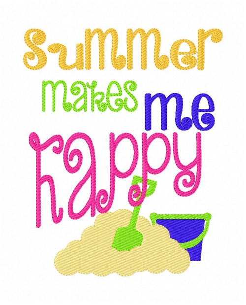 Summer Makes Me Happy Embroidery Design