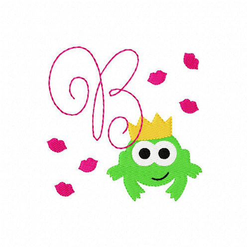 Prince Charming Frog Monogram Embroidery Font Design Set