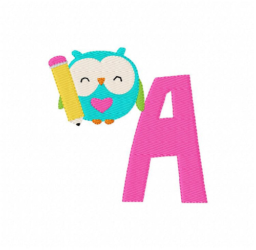 Ready for School Owl Monogram Embroidery Font Design Set