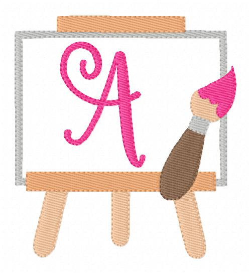 Painting Day Art Easel Machine Embroidery Monogram Design Set
