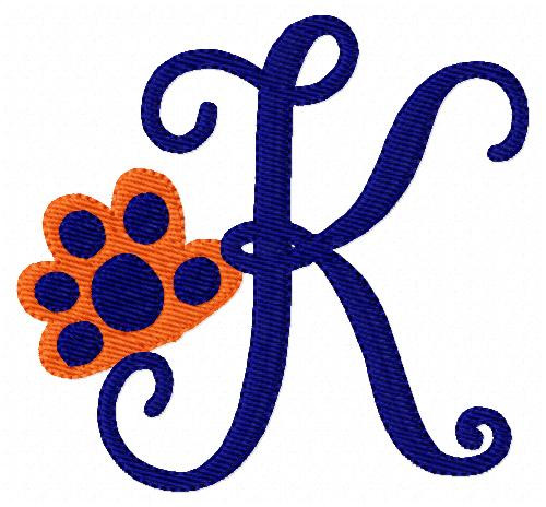 Tiger Paw Print Monogram Embroidery Design Set