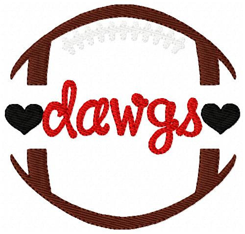 Dawgs Football Sports Machine Embroidery Design
