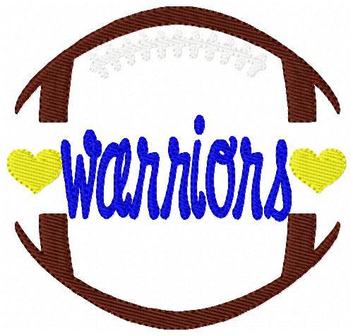 Warriors Football Sports Machine Embroidery Design