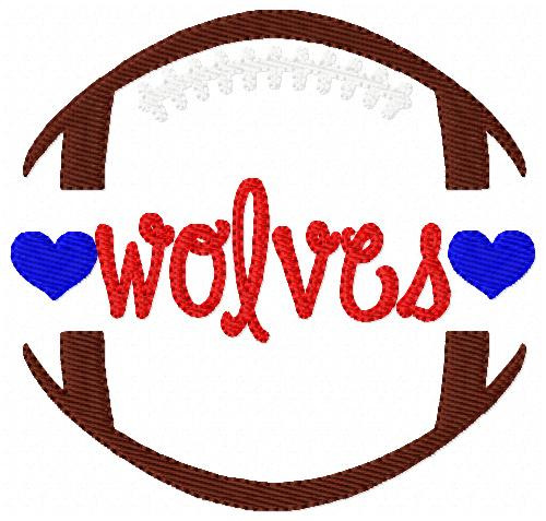 Wolves Football Sports Machine Embroidery Design