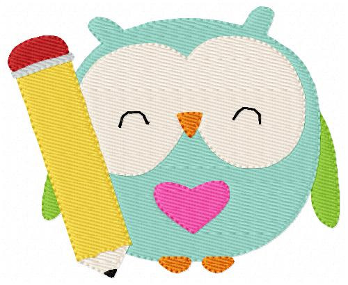 School Owl with Pencil Machine Embroidery Design