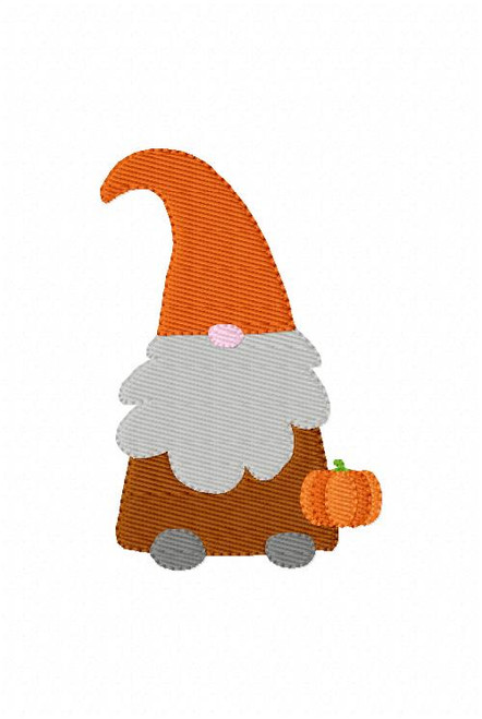 Fall Gnome with Pumpkin Machine Embroidery Design