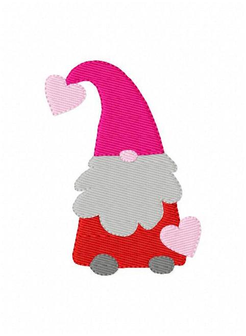 Valentine's Gnome with Hearts Machine Embroidery Design