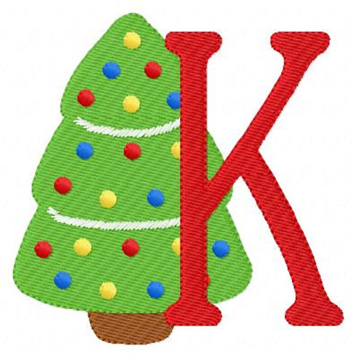 Christmas Tree Monogram Embroidery Design Set