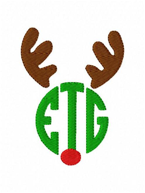 Reindeer Antler Red Nose Christmas 3 Three Letter Monogram Embroidery Design Set