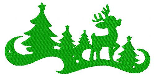 Waiting for Christmas Reindeer Tree Embroidery Design