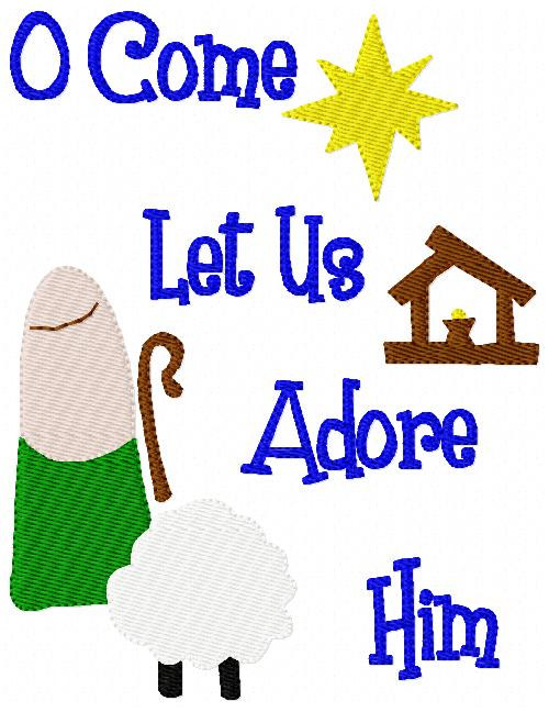 O Come Let us Adore Him Nativity Christmas Embroidery Design 2 sizes