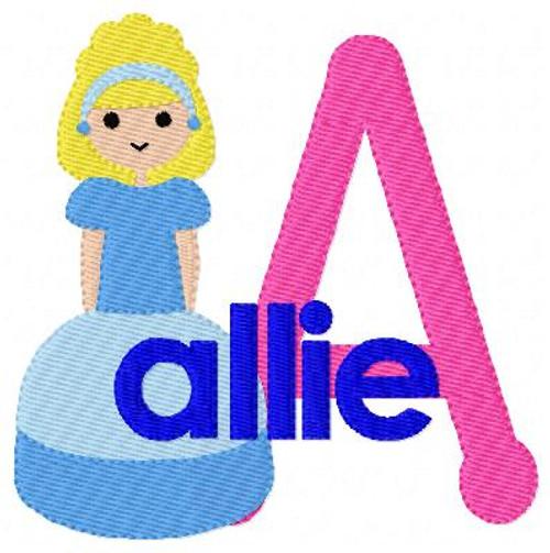 Princess in Blue Machine Embroidery Monogram Design Set