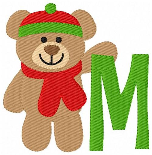 Cuddle Stuffed Bear Monogram Machine Embroidery Font Design Set