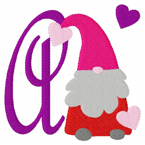 Valentine Gnome Monogram Machine Embroidery Font Design Set