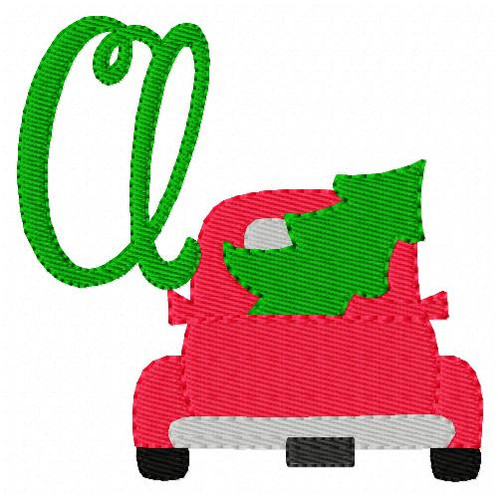 Christmas Tree Truck Machine Embroidery Monogram Font Design Set