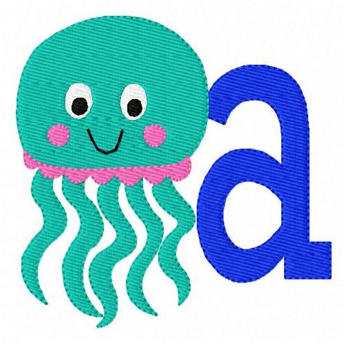Jelly Fish Jellyfish Monogram Embroidery Design Font Set