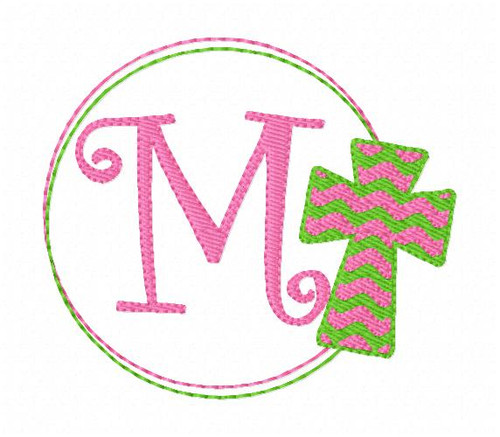 Cross Circle Easter Monogram Machine Embroidery Font Design Set