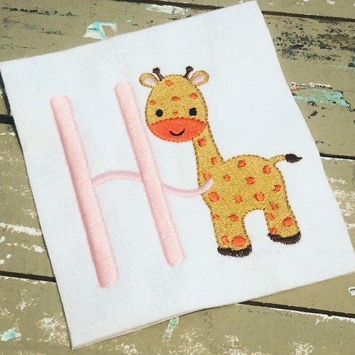 Giraffe Cutie Machine Embroidery Monogram Font Design Set