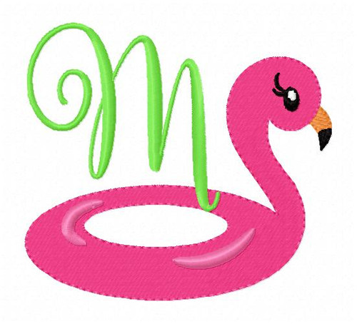 Flamingo Pool Floatie Summer Monogram Embroidery Font Design Set