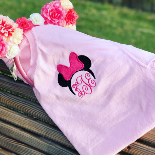 Mouse with Bow & Monogram Embroidered Comfort Colors Tee Shirt