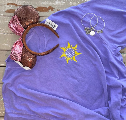Sunburst Monogram So Glad I Left My Tower Embroidered Comfort Colors Short Sleeve Tee, T-Shirt