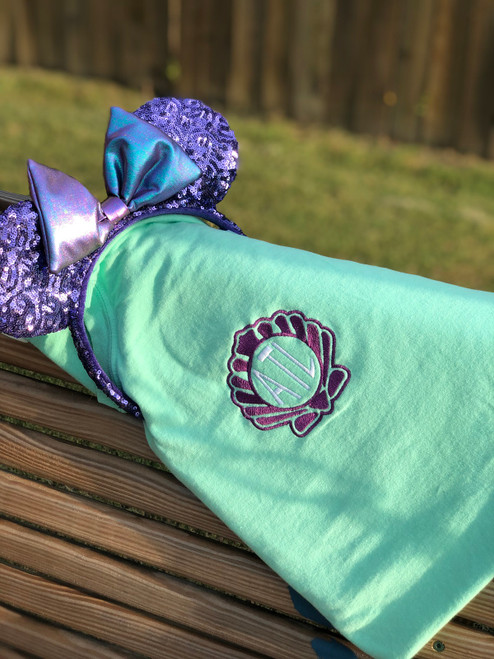 Clam Sea Shell Monogram Under the Sea Embroidered Comfort Colors Short Sleeve Tee, T-Shirt, Mermaid