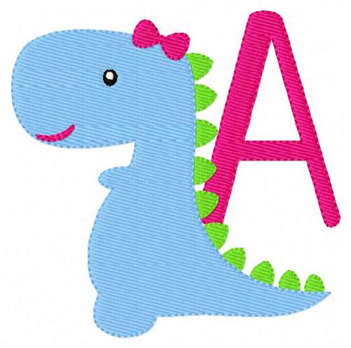 Girl With Bow Dino Dinosaur Monogram Embroidery Design Set
