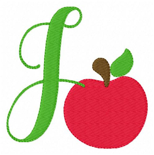 Apple School Monogram Machine Embroidery Design Set