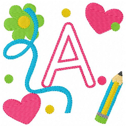 Back to School Doodle Monogram Embroidery Design Set