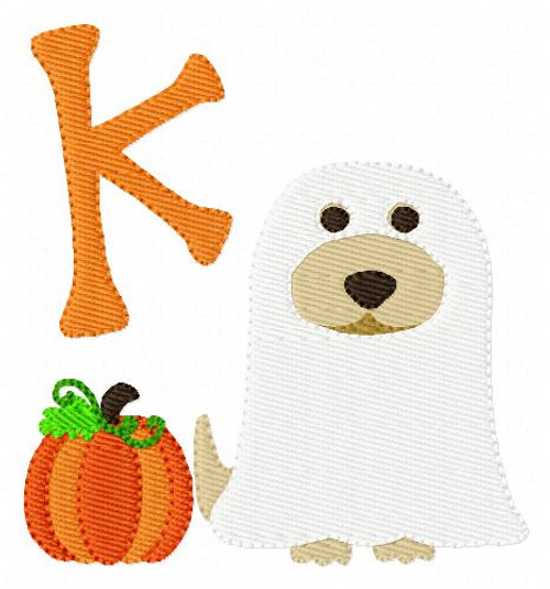 Golden Retriever Ghost Costume Monogram Embroidery Font Design Set