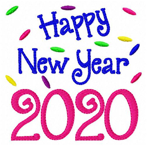 2020 Happy New Year Embroidery Design