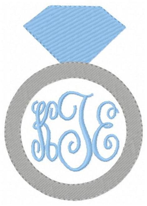 Engagement Ring Blue Diamond Monogram Frame Embroidery Design