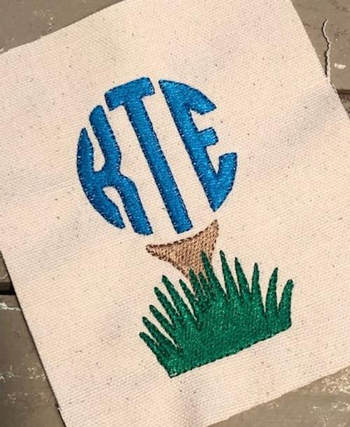 Golf Tee 3 Three Letter Circle Monogram Embroidery Design Font Set