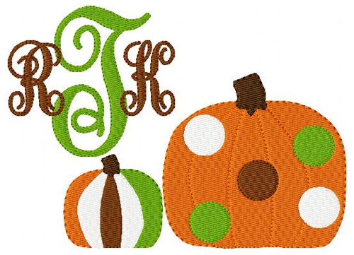 Pumpkin 5x7 Triple Monogram Fall Machine Embroidery Font Design Set