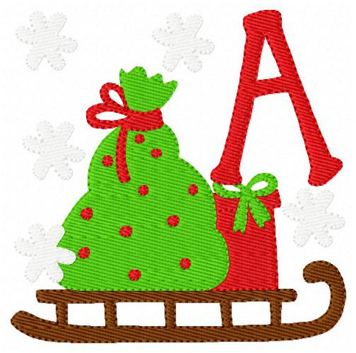 Christmas Sleigh Monogram Embroidery Designs Font Set