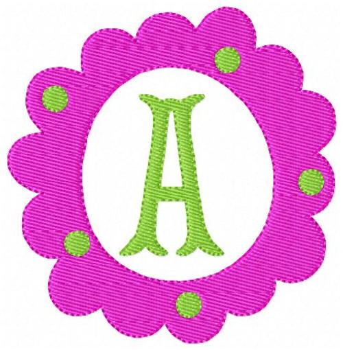 Flower Circle Monogram Embroidery Font Design Set