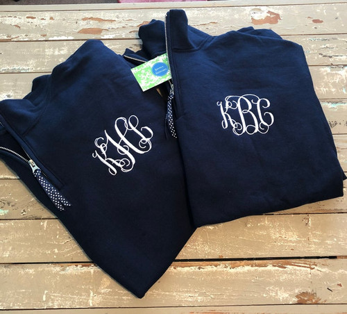 Monogrammed Sweatshirt Quarter Zip Pullover With Monogram & Ribbon Zip Pull