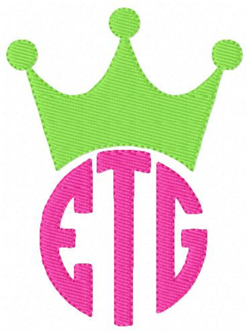 Crown Princess Three Letter Monogram Machine Embroidery Font Design Set