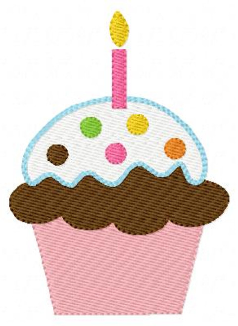 Cupcake with Candle Machine Embroidery Design