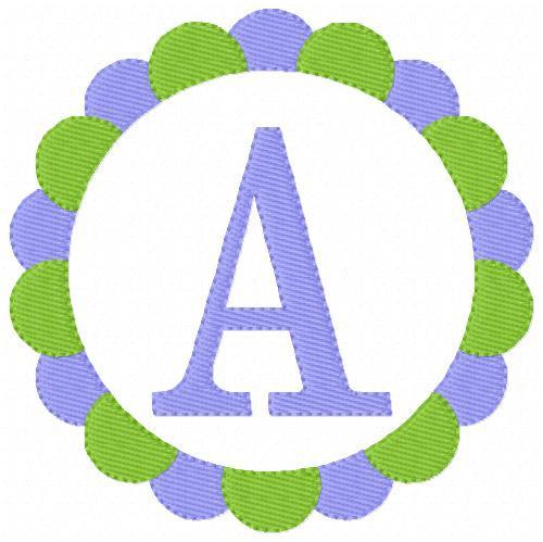 Sweet Circle Monogram Embroidery Font Design Set
