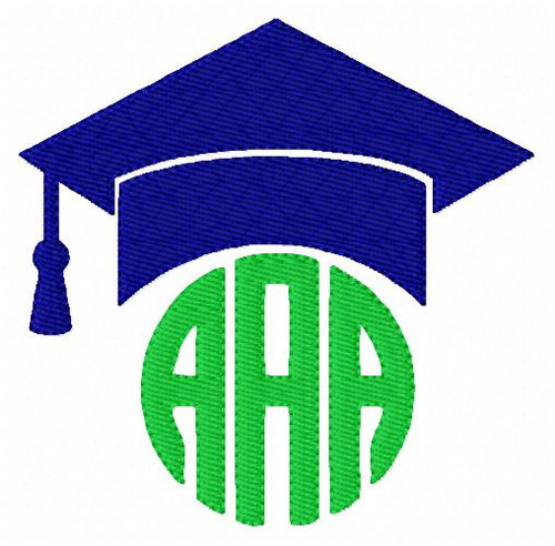 Graduation Cap 3 Letter Circle Monogram Embroidery Design Set