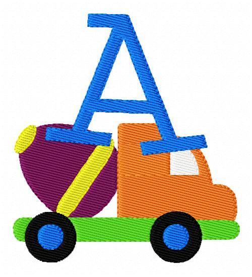 Concrete Mixer Construction Truck Monogram Machine Embroidery Design Set