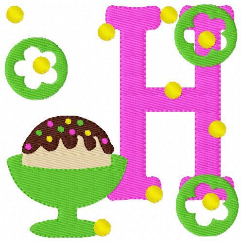 Ice Cream Sundae with Sprinkles Monogram Embroidery Font Design