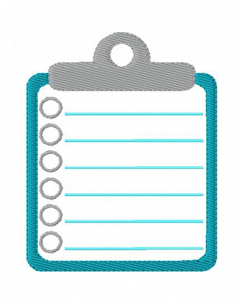 Clipboard Planner Checklist Machine Embroidery Design