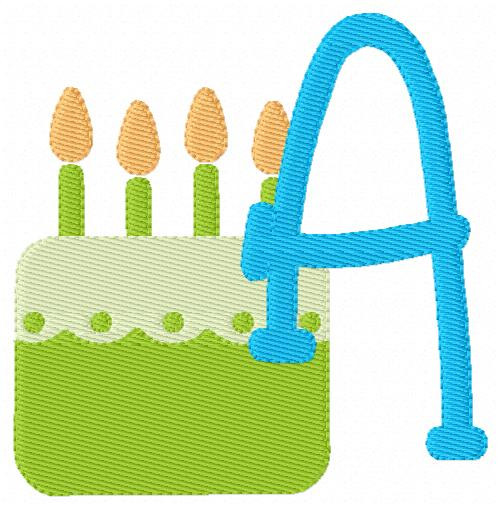 Birthday Cake Monogram Embroidery Design Font Set