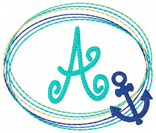 Anchor Beach Monogram Embroidery Font Design Set