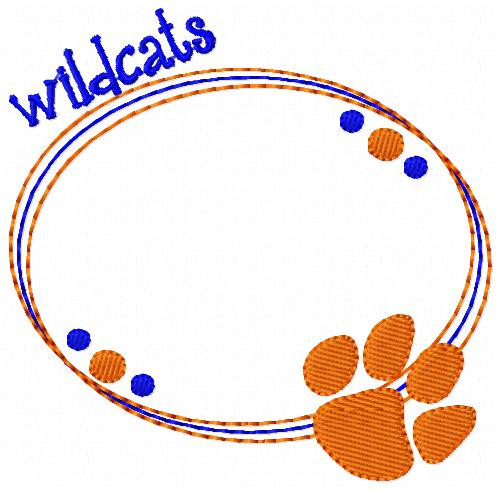 Wildacats Oval Monogram Embroidery Frame Only Design (No Letters Included)