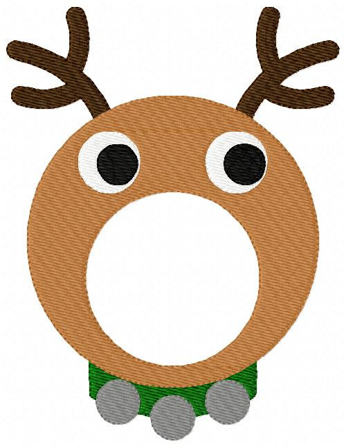 Christmas Reindeer Monogram Embroidery Frame Topper Only Design (No Letters Included)