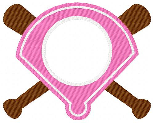 Softball & Baseball Monogram Embroidery Frame Topper Only Design (No Letters Included)